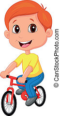 Boy cartoon riding bicycle - Vector illustration of Boy...