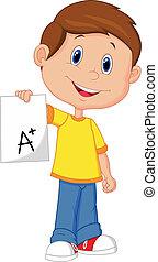 Vector illustration of Boy cartoon showing A plus grade