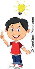 Vector illustration of Boy cartoon with a good idea