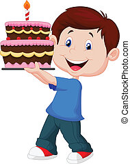 Boy cartoon with birthday cake
