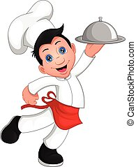boy chef cartoon  isolated on white background
