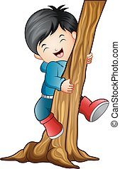 Boy climbing the tree
