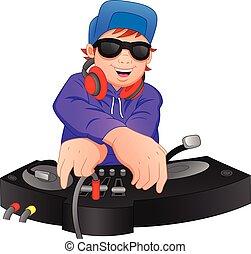 boy disc jockey - vector illustration of boy disc jockey