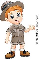 Boy explorer waving - Vector illustration of Boy explorer...