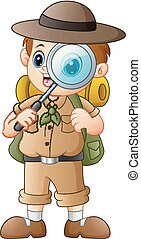 Boy explorer with magnifying glass - Vector illustration of...