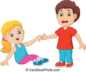 Boy Helping a Girl Stand Up