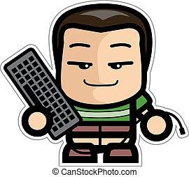 Boy holding a Keyboard