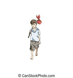 Vector illustration of boy in Everyday Walking Up