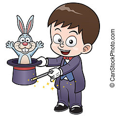Boy Magician - Vector illustration of Boy Magician cartoon