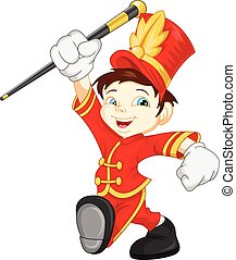 vector illustration of boy marching band