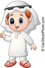 Boy Muslim cartoon giving thumb up