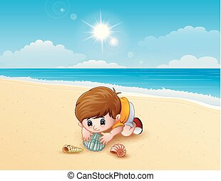 Boy playing a sea shells at the beach