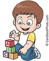 Boy - Vector illustration of Boy playing blocks
