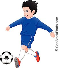 boy playing football on a white background