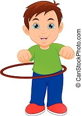 boy playing with Hula Hoop