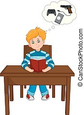 Boy Reading a Book and Thinking of Games on the Table