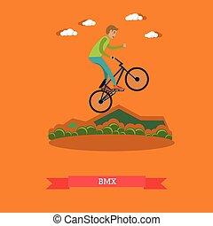 Vector illustration of boy riding bmx bike in flat style