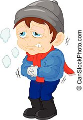 boy sick with a cold and fever