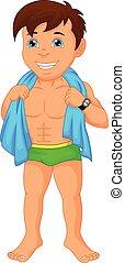 boy swimmer cartoon