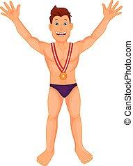 boy swimmer celebrates his golden medal