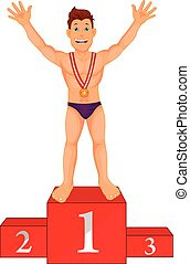 boy swimmer celebrates his golden medal on podium