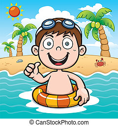 Boy swimming - Vector illustration of Boy swimming