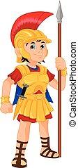 boy wearing roman soldier costume - vector illustration of ...