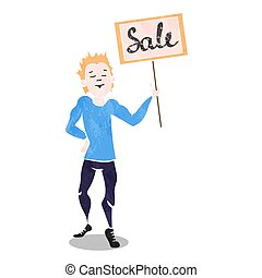 Vector illustration of  boy with a board.