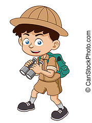 Boy - Vector illustration of Boy with binoculars