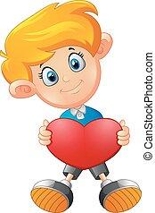 Boy with heart cartoon