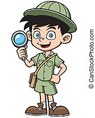 Boy - Vector illustration of Boy with magnifying glass