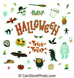 Vector Illustration of Brand Identity for Halloween Promotion on white
