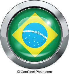 Brazilian flag metal button - Vector illustration of...