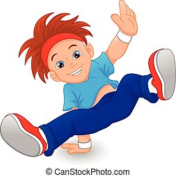vector illustration of Break dance boy