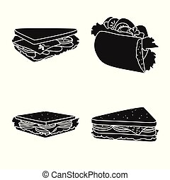 Isolated object of breakfast and ingredient icon. Set of breakfast and sandwich stock vector illustration.