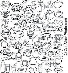 breakfast - vector illustration of breakfast collection in...