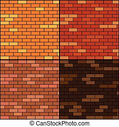 brick wall background set - vector illustration of brick ...
