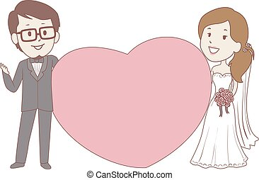 Bride and Groom Holding a Big heart frame