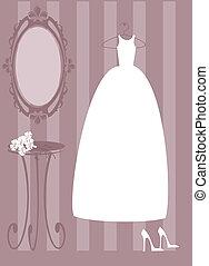 Vector illustration of bride dress