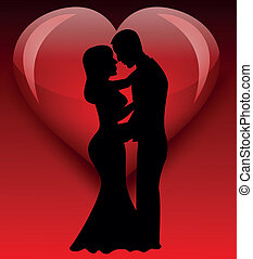 bride silhouette with love - vector illustration of bride...