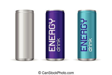 Vector illustration of bright energy drink cans