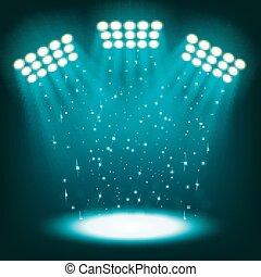 Bright stadium spotlights on dark blue background