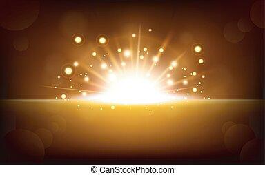 Bright yellow light rising