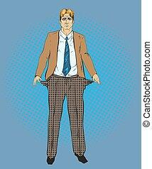 Vector illustration of broke businessman in retro pop art ...
