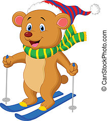 Brown bear cartoon skiing
