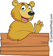 Brown bear with blank signboard