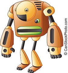 Brown cartoon robot isolated on white background