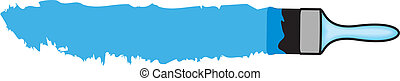 blue paint - Vector illustration of brush and blue paint...