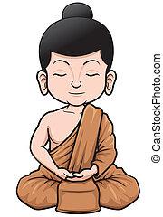 Buddhist Monk - Vector illustration of Buddhist Monk cartoon