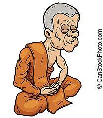 Monk - Vector illustration of Buddhist Monk cartoon